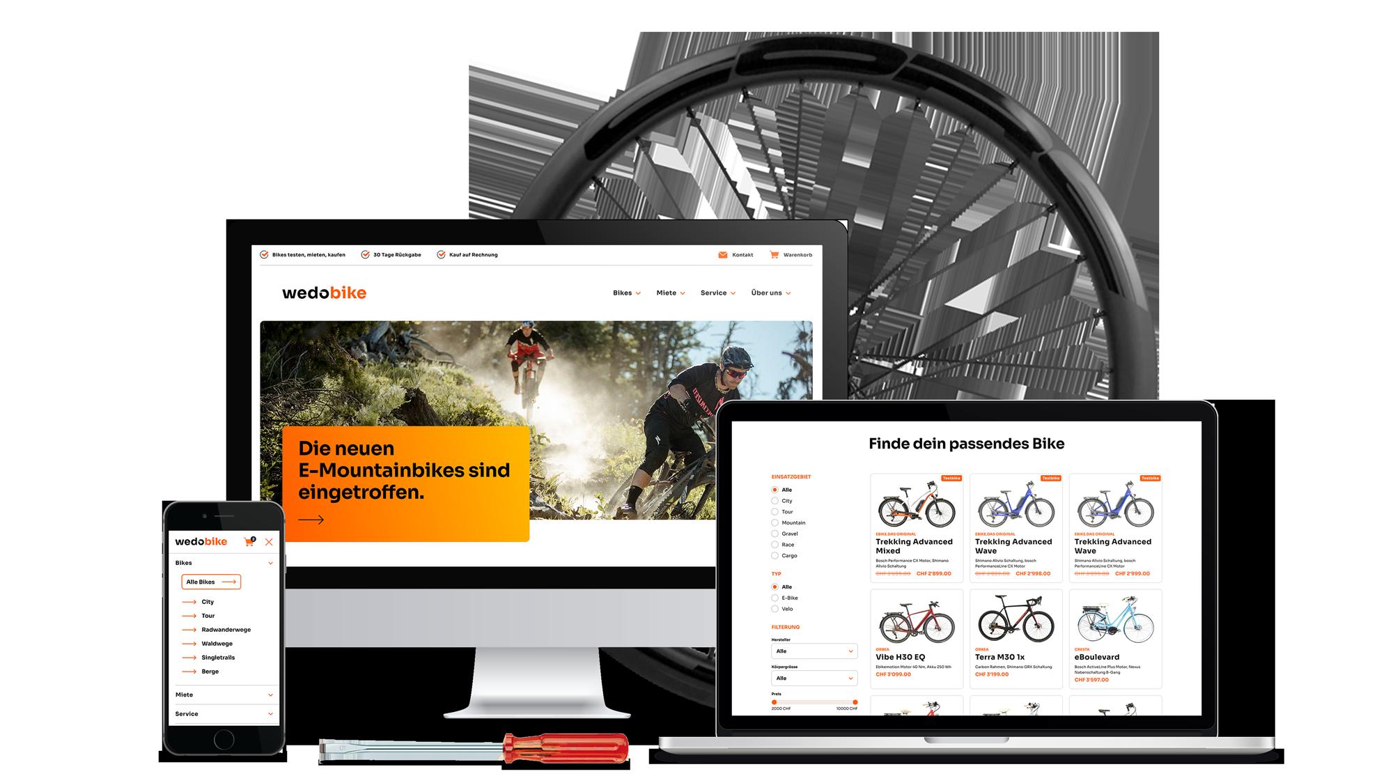 Custom Webshop plus Branding für wedobike